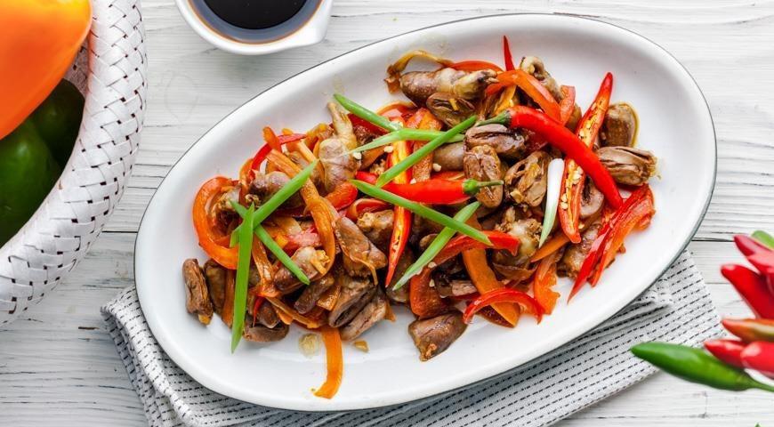 Куриные сердечки по-азиатски